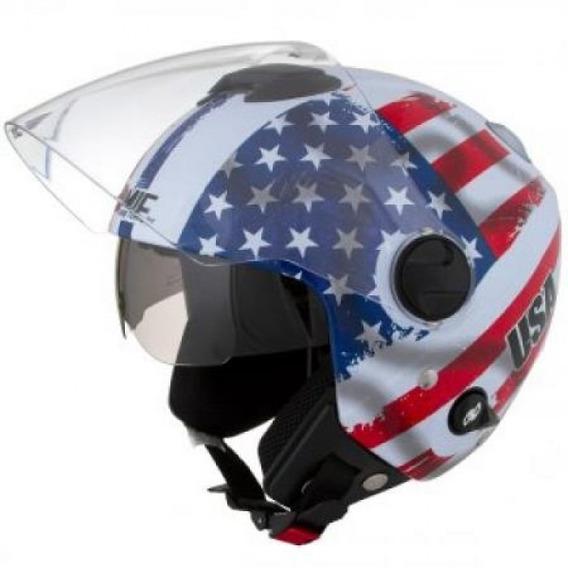 Capacete Moto Aberto New Atomic Nações Usa Protork