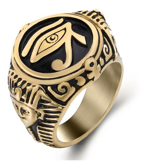 Anel Dourado Maçonaria Olho Hórus Aço Inox Templário Egito