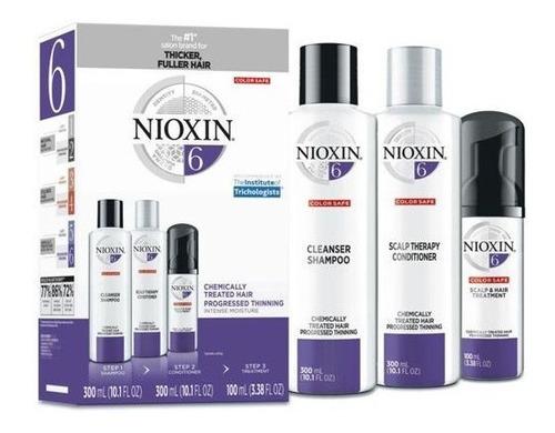 Imagem 1 de 2 de Kit Nioxin Nº 6 System Shampoo Condicionador E Tratamento
