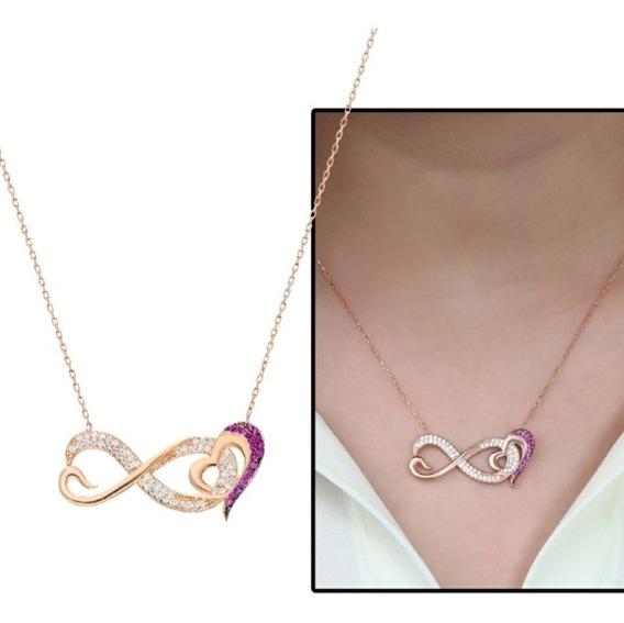 Plata 925 Corazón Infinito Zircon Rosa-blanco Collar