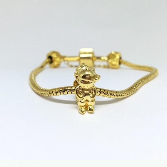 Berloque Menino Dourado Banho Ouro 18k Para Pulseira