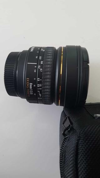 Lente Objetiva Sigma 8mm 3.5 Ex Dg Fisheye Para Nikon