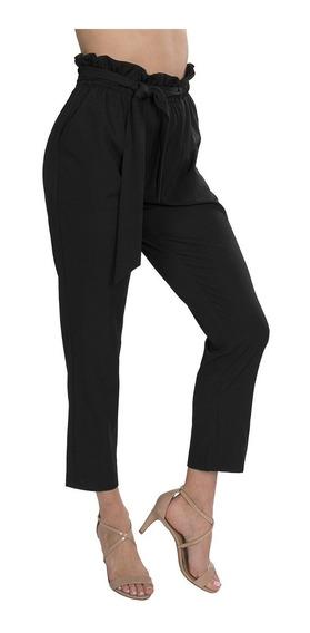 Pantalones Mujer Olan Cinturon Negros Moda W91201