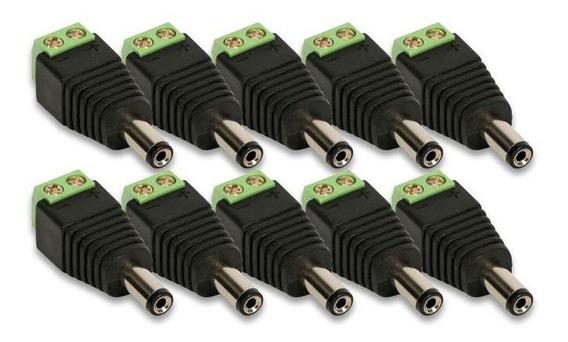 Kit Conector P4 Macho Com Borne 10 Un. P Câmeras De Seguança
