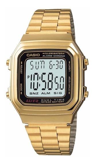 Relógio Casio Vintage Unissex A178wga 1adf Dourado Dual Time