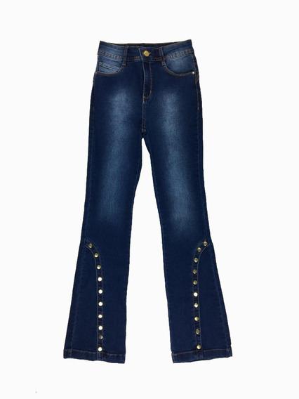 Calça Jeans Flare Com Botões Feminina Azul Jezzian