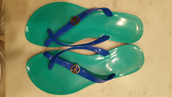 Ojotas Sandalias - Verde Y Azul - Talle 35/36 - Poco Uso