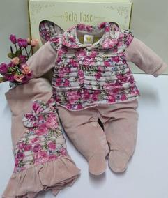 Saida Maternidade Plush Bebe Menina Bela Fase Ref 5307