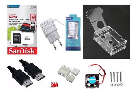 Case+cooler+dissipador+fonte+hdmi+cartão 32g-rasp Pi3b/plus.