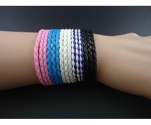 Pulseira Bracelete Masculino Feminino Couro Kit Com 5 Peças