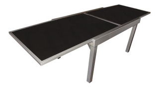 Mesa Extensible 0.90 A 1.80 X 0.90m Aluminio / Vidrio Negro