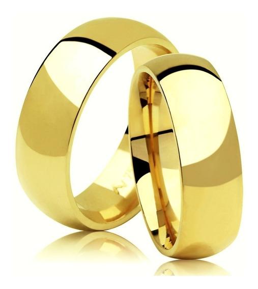Par De Aliança Ouro 18kl Tradicional 6mm 8 Gramas Casamento