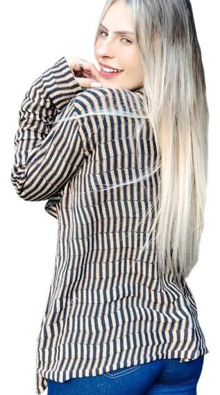 Cardigan De Tricot Kimono Listrado 2 Cores Colorido Promoção