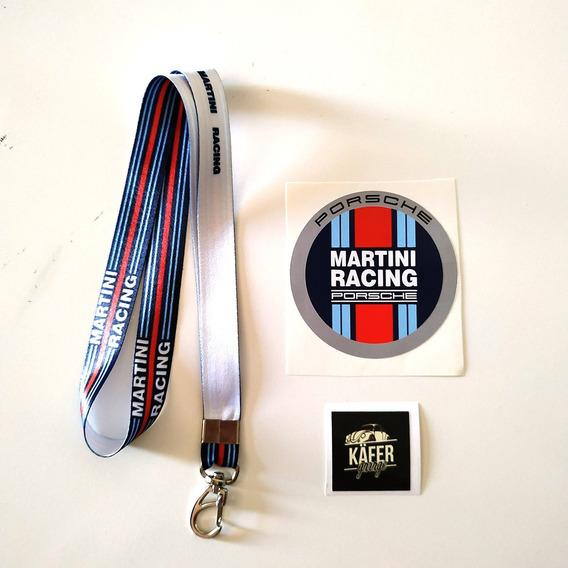 Chaveiro Cordão Martini Racing + Adesivo Martini Porsche