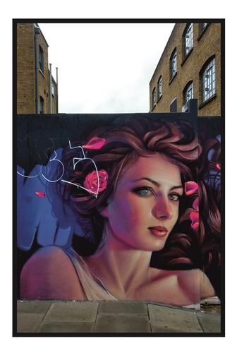 Quadro Decoração Sala Grafite Rosto Com Rosas, Londres