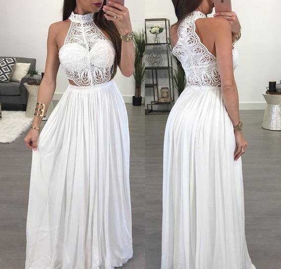 Vestido Blanco Halter Fiesta Matrimonio - N09