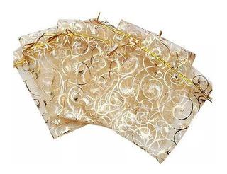 Kit 220 Saquinhos De Organza Dourados 9 X 12 Cm