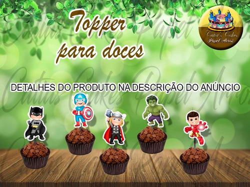 50 Tags Toppers Festa Aniversário Super Heróis Baby Cute