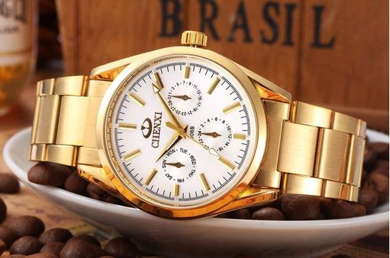 Relógio Masculino Dourado Metal Militar Chenxi Qurtzo/luxo