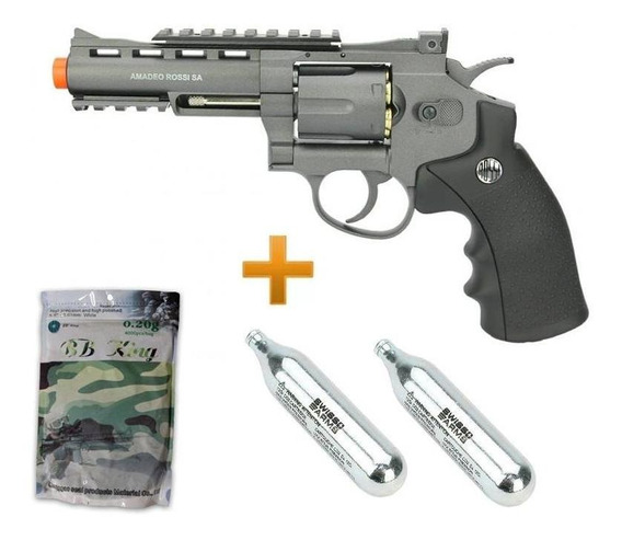 Revolver Airsof 38 Co2 6t 4 Ox Rossi Full Metal + Co2 + Bbs