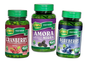 Kit 6 Blueberry Mirtilo Cranberry Amora Cápsulas Polifenois