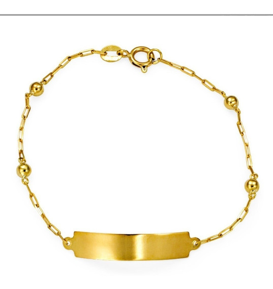 Pulseira Infantil Ouro 18k-750 Chapinha-bolinha Nome Gravad.
