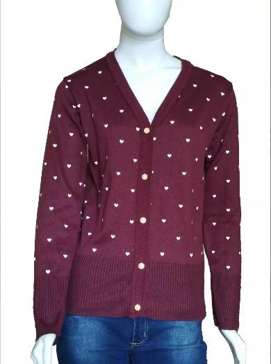 Blusa De Frio Feminina Cardigan Suéter Lã Trico Estampada