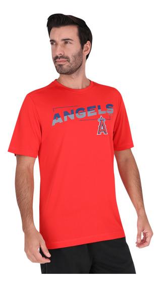 Playera De Entrenamiento Majestic Mlb Los Angeles Angels Roj