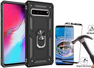 Funda Samsung Anillo Metal Uso Rudo + Mica 6d Curva Premium
