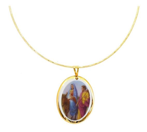 Medalha Nossa Senhora Desterro Ouro E Gargantilha Semijoia