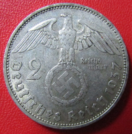 X Alemania Moneda Nazi De Plata 2 Reichsmark Vf 1937 A