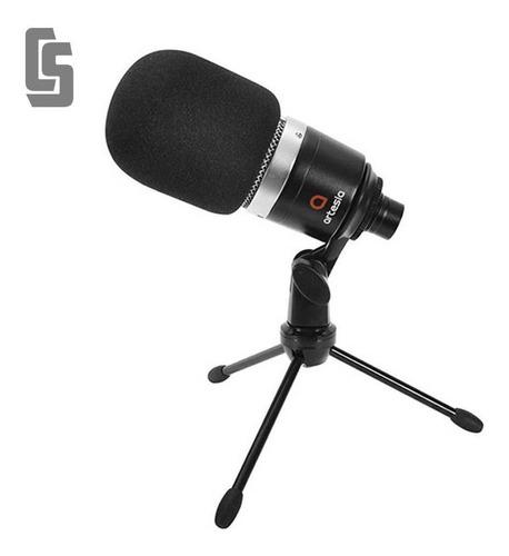 Micrófono Condenser C/soporte De Mesa Cable Y Rompevientos