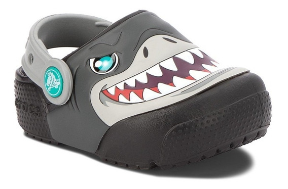 Crocs Niños Con Luces Tiburones Fun Lab Lights Clog Black