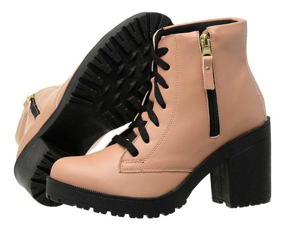 Bota Cano Curto Feminina Ankle Boot Salto Tratorado Fosca