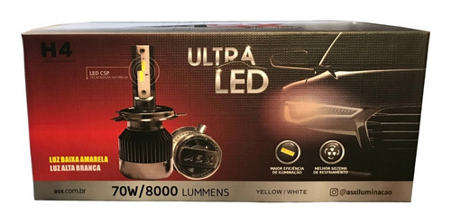 Lampada Led H4 Dual Color Asx 8000l 6000k 4500k 70w C/coller