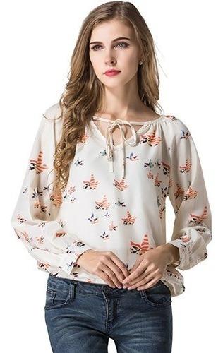 Camisa Blusa Feminina Chiffon Renda Manga Longa Creme Flores