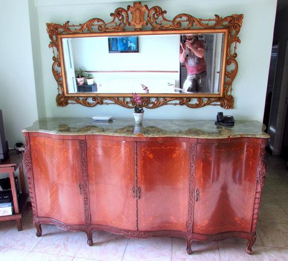 Antiguo Gran Espejo, Marco Frances Tallado En Madera
