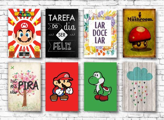 Kit 10 Quadros Decorativos Mdf Frases Bebidas Games Heróis