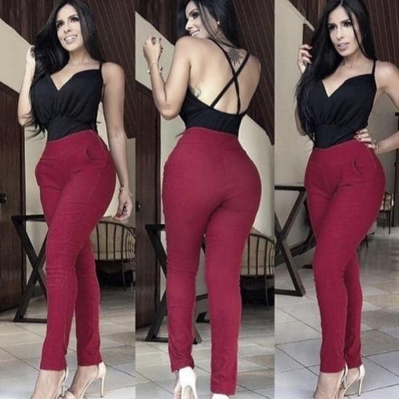 Calça Feminina Com Zíper Lateral Skinny Cintura Alta Ab