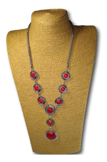 Conjunto - Colar + Brincos De Pedra Howlita Coral Ref: 9779