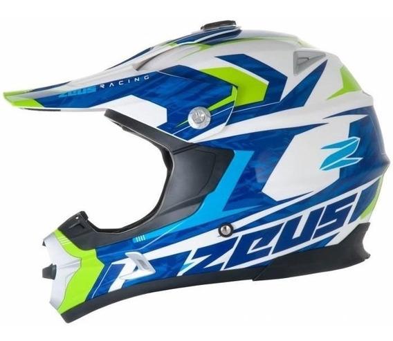 Capacete Zeus 951 Rr12 Branco/azul-verde