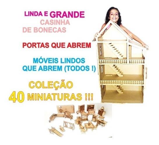 Linda Casinha Bonecas Polly Barbie + 40 Miniaturas Espelho