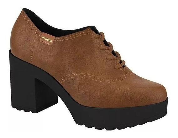Sapato Oxford Tratorado Moleca Preto Pinhão Caramelo 5647106