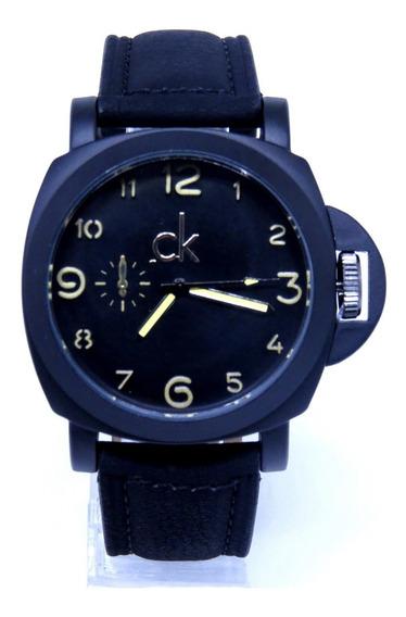 Relógio Masculino Preto Fosco Couro Top Original+ Caixa C461
