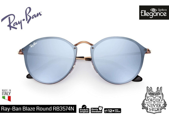 Óculos Ray- Ban Blaze Round Rb3574 - Bronze / Violeta