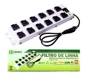 Filtro De Linha 12 Tomadas Metálico | Régua 110/220 Bivolt