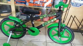 Bicicleta Aro 16 Masculina Verde 4 A 7 Anos Hulk