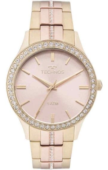Relógio Technos Dourado E Rosé Feminino Crystal 2035mmj/5t