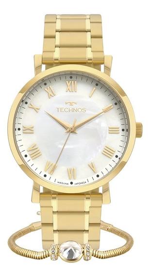 Relógio Feminino Technos Dourado Kit Com Pulseira 2035mqz/k4b