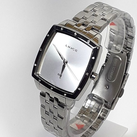 Relógio Feminino Lince Lqm620l Cromado Retangular Elegante